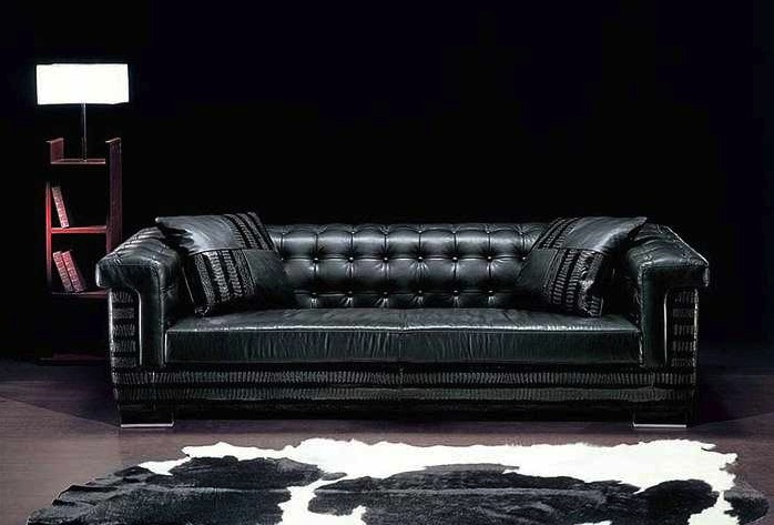 Luxury-contemporary-black-leather-sofa